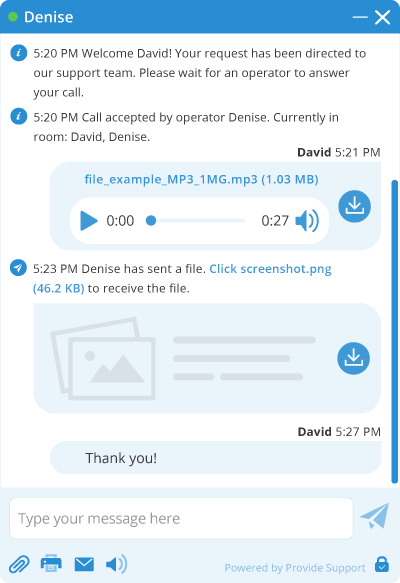 Media files preview in live chat window
